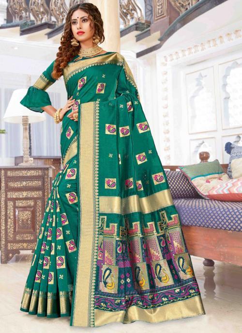 Party Wear Green Weaving Pure Chanderi Cotton Saree