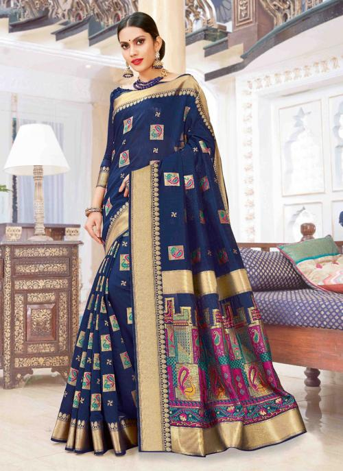 Party Wear Navy Blue Weaving Pure Chanderi Cotton Saree