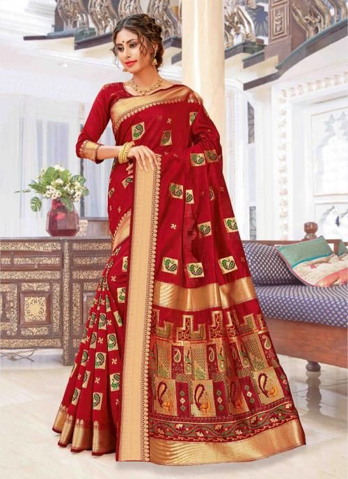 Party Wear Red Weaving Pure Chanderi Cotton Saree
