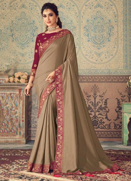Party Wear Brown Border Work Vichitra Silk Saree