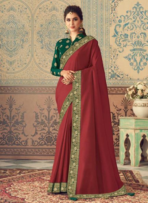 Party Wear Dark Pink Border Work Vichitra Silk Saree