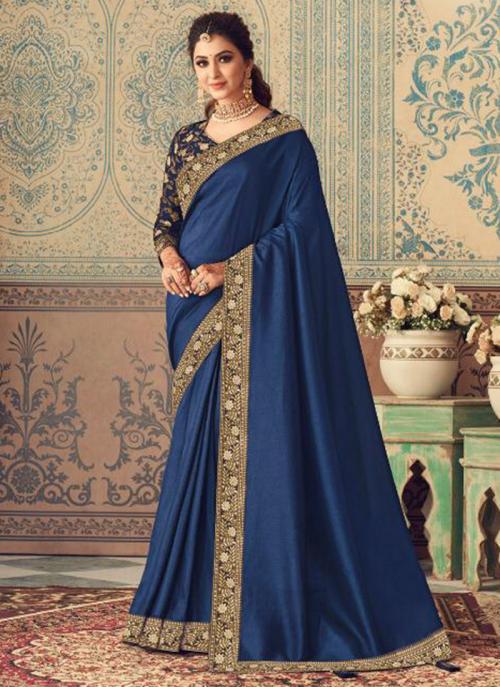 Party Wear Navy Blue Border Work Vichitra Silk Saree