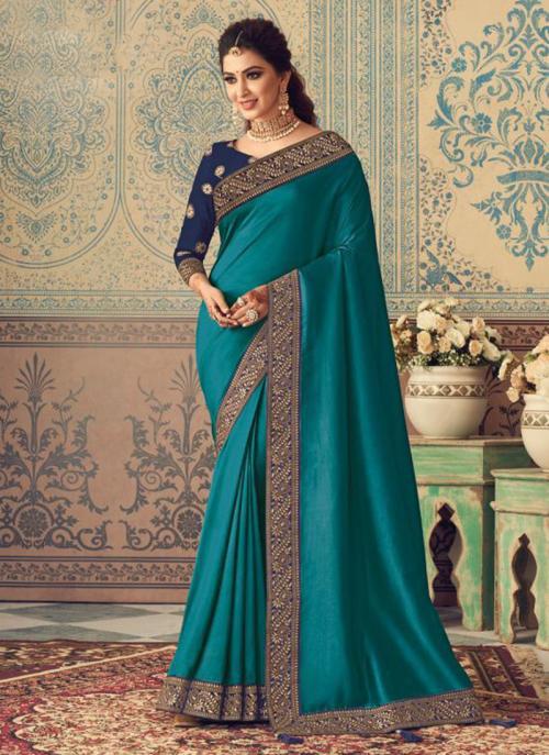 Party Wear Sky Blue Border Work Vichitra Silk Saree