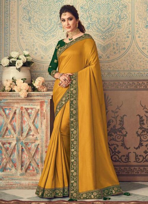 Party Wear Yellow Border Work Vichitra Silk Saree