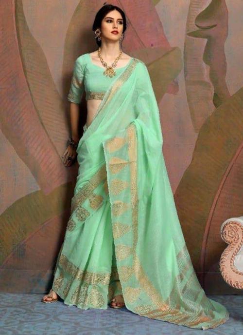 Party Wear Pista Green Weaving Linen Saree