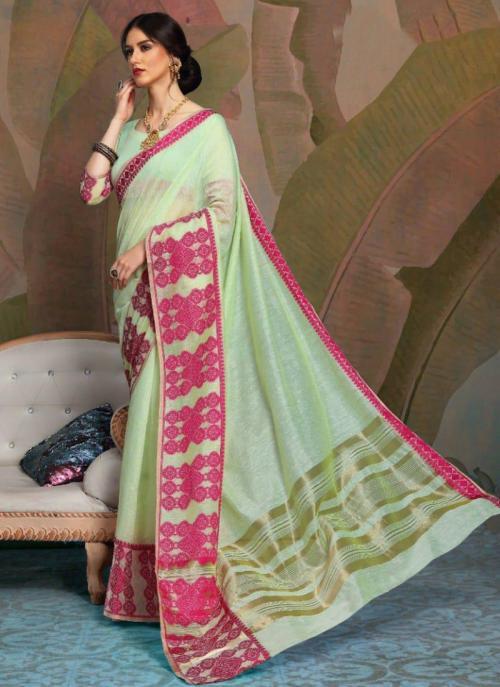 Party Wear Sea Green Weaving Linen Saree