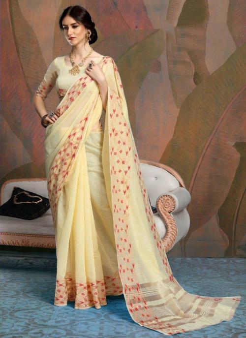Party Wear Yellow Weaving Linen Saree