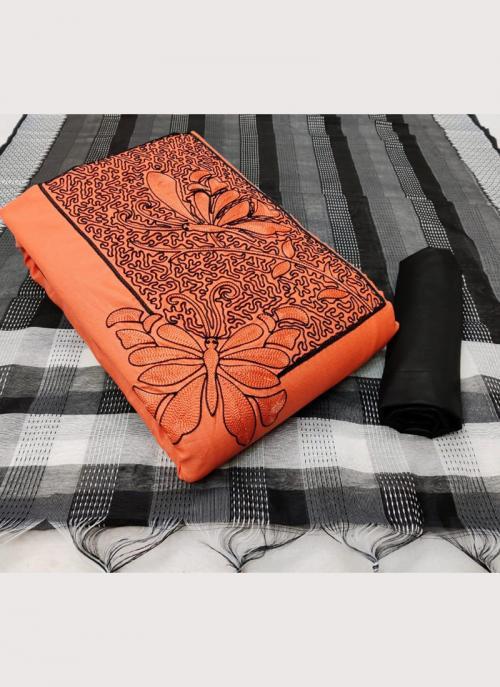 Casual Wear Pink Embroidery Work Slub Cotton Salwar Suit