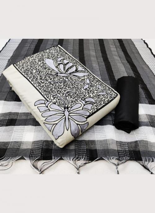 Casual Wear White Embroidery Work Slub Cotton Salwar Suit