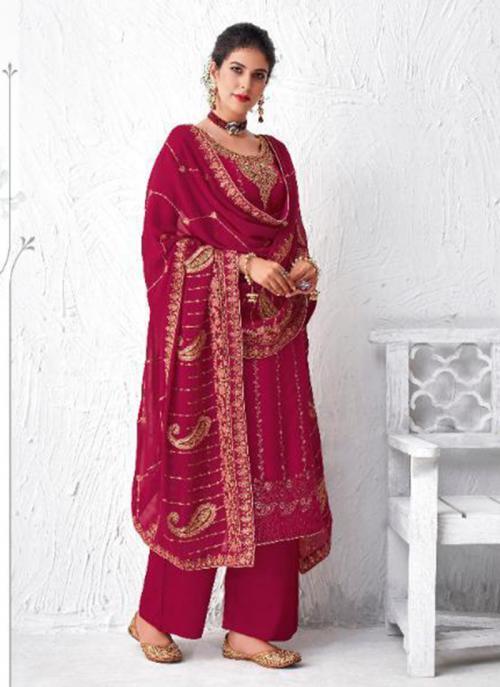 Festival Wear Dark Pink Embroidery Work Dola Silk Palazzo Suit