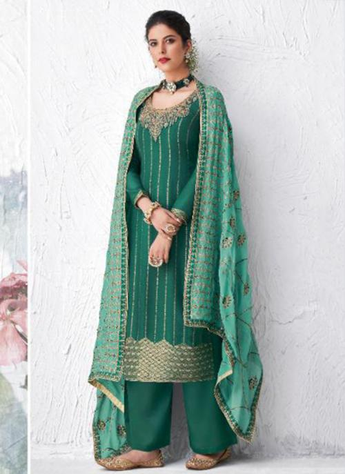 Festival Wear Green Embroidery Work Dola Silk Palazzo Suit