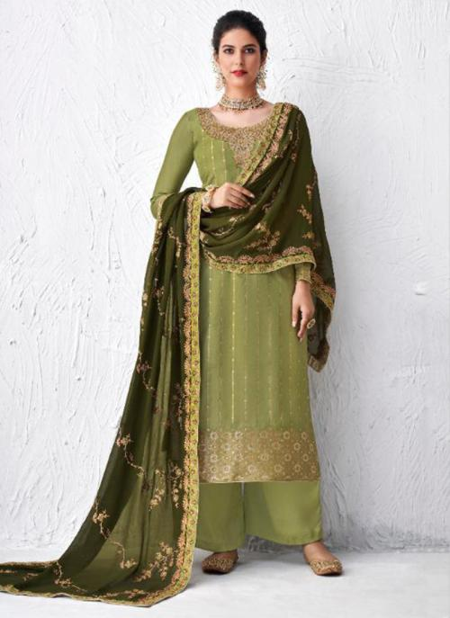 Festival Wear Light Green Embroidery Work Dola Silk Palazzo Suit