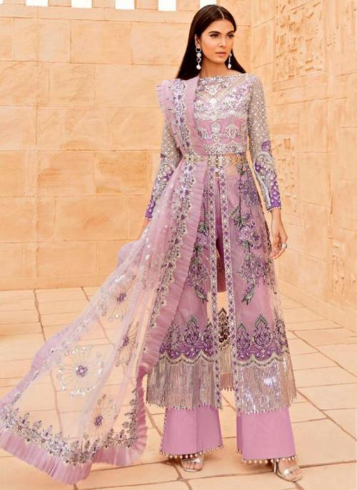 Festival Wear Pink Embroidery Work Butterfly Net Pakistani Suit