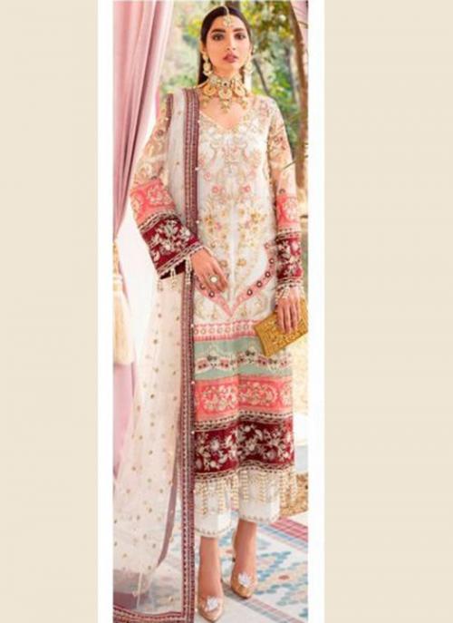 Wedding Wear Cream Heavy Embroidery Work Butterfly Net Pakistani Suit