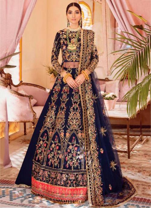 Wedding Wear Navy Blue Heavy Embroidery Work Butterfly Net Pakistani Suit