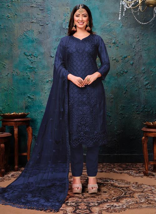 Festival Wear Navy Blue Embroidery Work Net Churidar Suit
