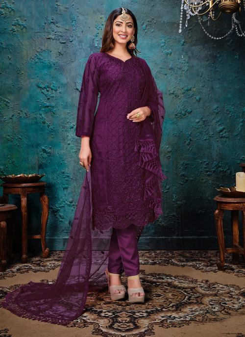 Festival Wear Wine Embroidery Work Net Churidar Suit