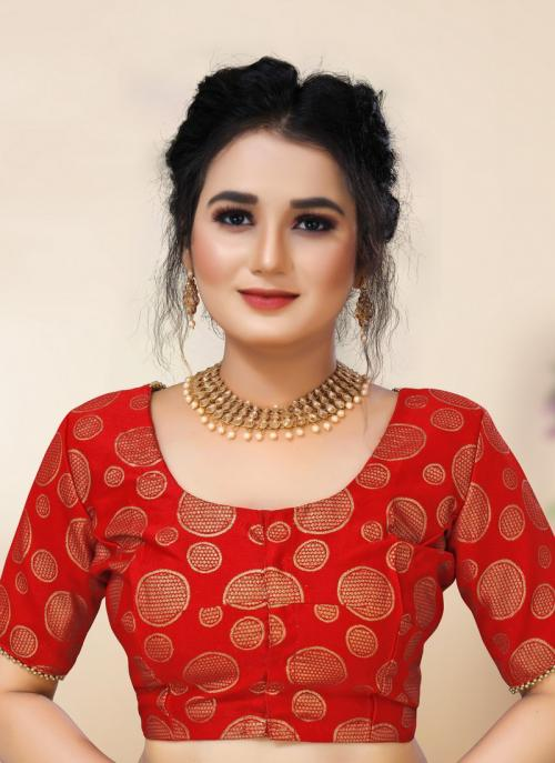 Festival Wear Red Wooven Brocade Plus Size Readymade Blouse