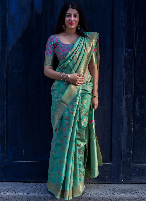 Party Wear Green Weaving Silk Saree