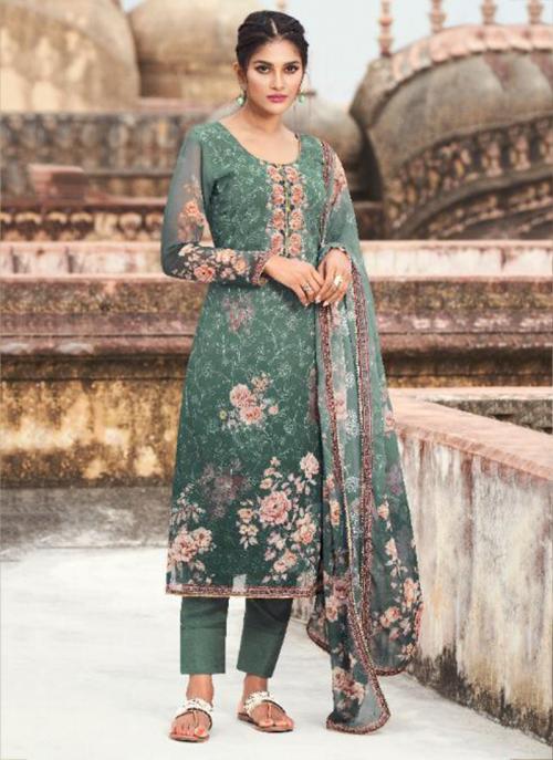 Casual Wear Teal Green Digital Printed Georgette Straight Suit