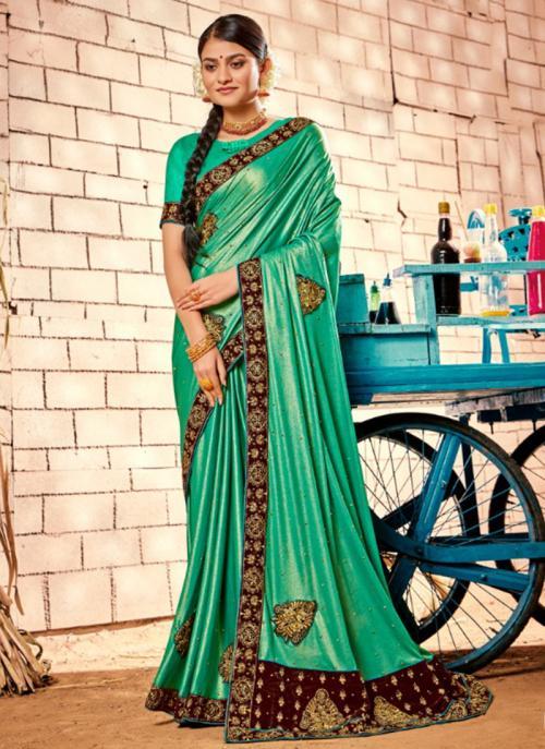Party Wear Pista Green Zari Work Fancy Saree