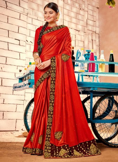Party Wear Red Zari Work Fancy Saree