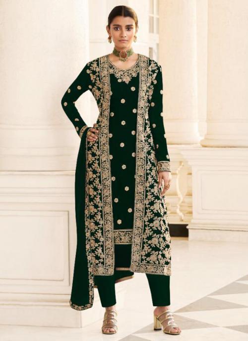Wedding Wear Green Embroidery Work Georgette Straight Suit
