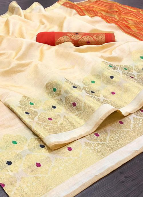 Wedding Wear Cream Weaving Silk Saree