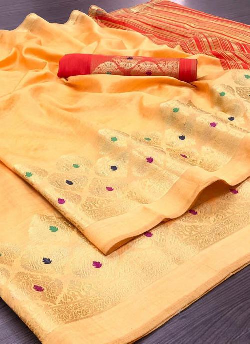 Wedding Wear Peach Weaving Silk Saree
