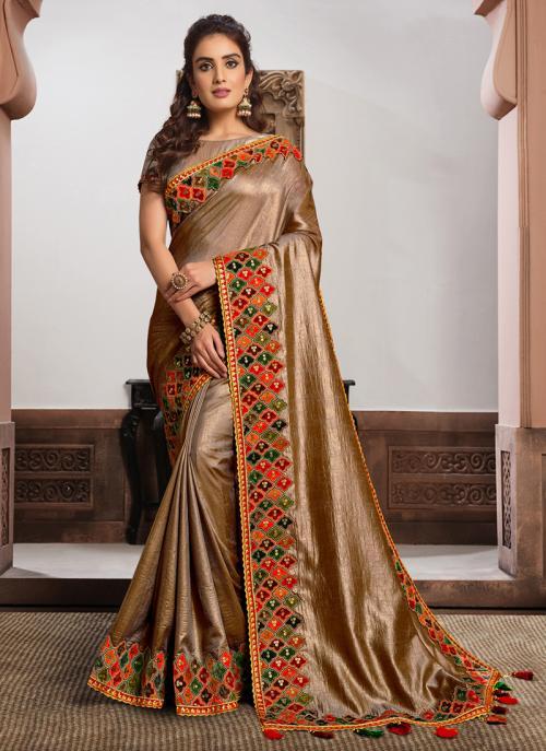Reception Wear Golden Resham Work Satin Silk Saree