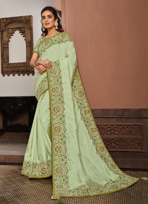 Reception Wear Pista Green Resham Work Silk Georgette Saree