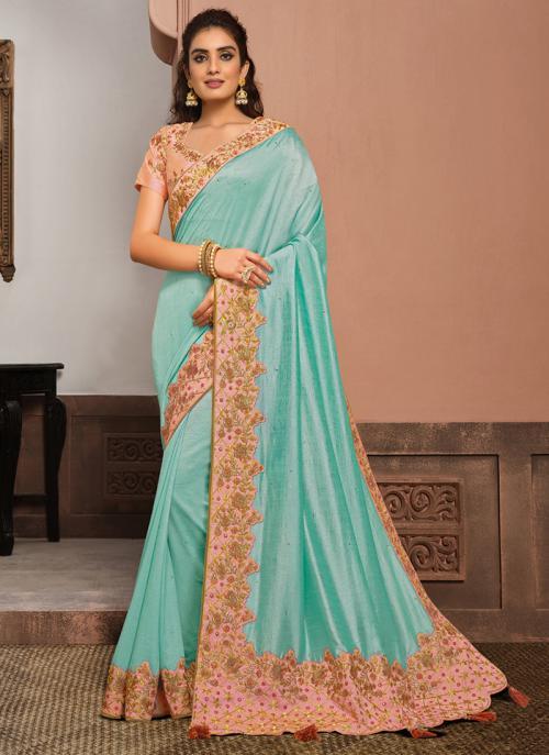 Reception Wear Sky Blue Resham Work Silk  Saree