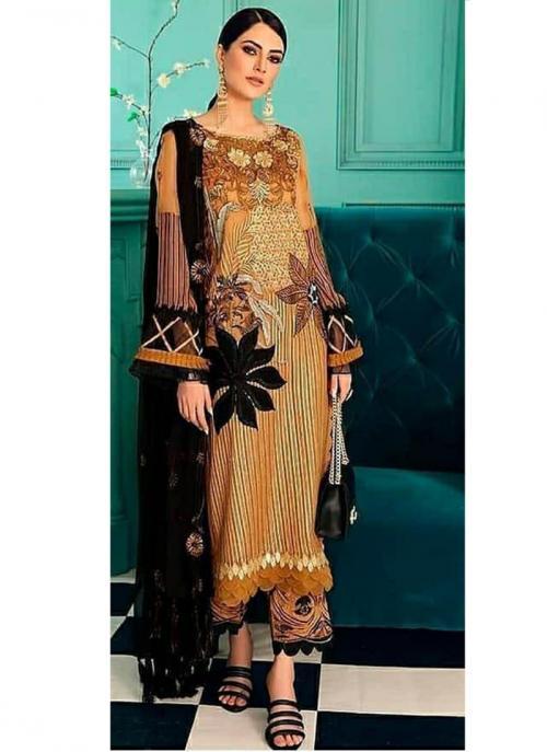 Party Wear Musterd Embroidery Work Georgette Pakistani Suit