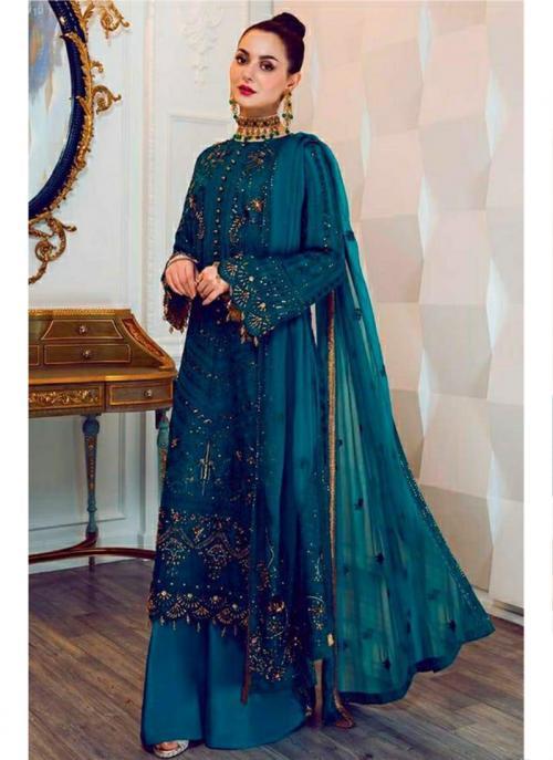 Party Wear Rama Blue Embroidery Work Georgette Pakistani Suit