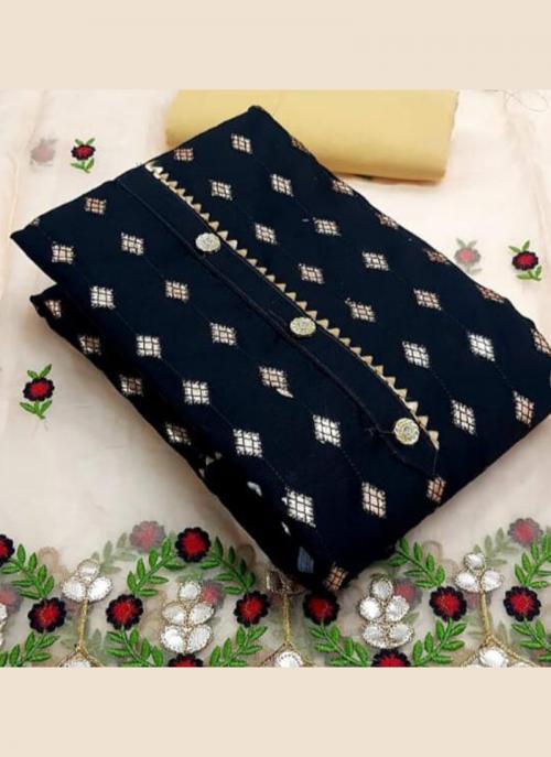 Festival Wear Black Embroidery Work Modal Chanderi Dress Material