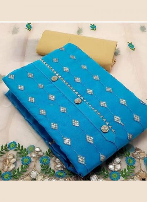 Festival Wear Sky Blue Embroidery Work Modal Chanderi Dress Material
