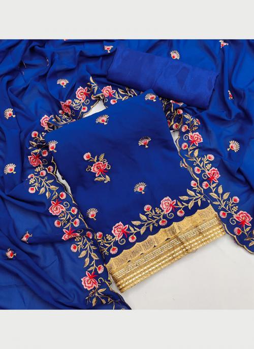 Festival Wear Blue Multi Work Georgette Dress Material