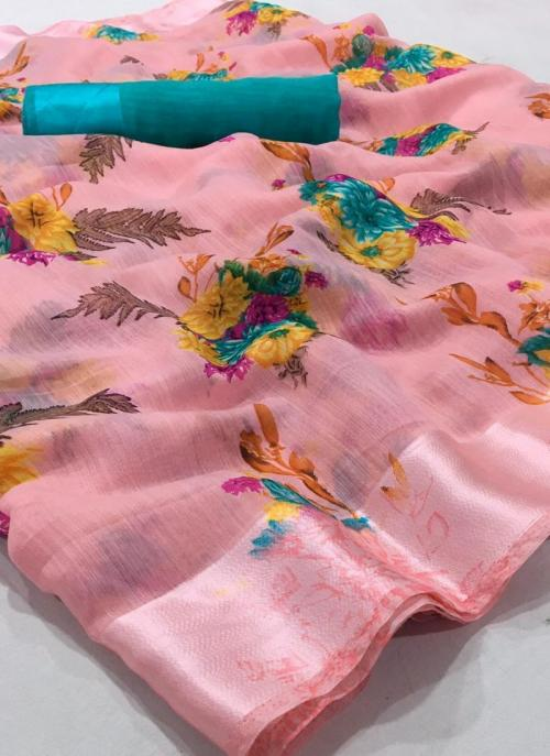 Casual Wear Light Pink Printed Work Linen Saree