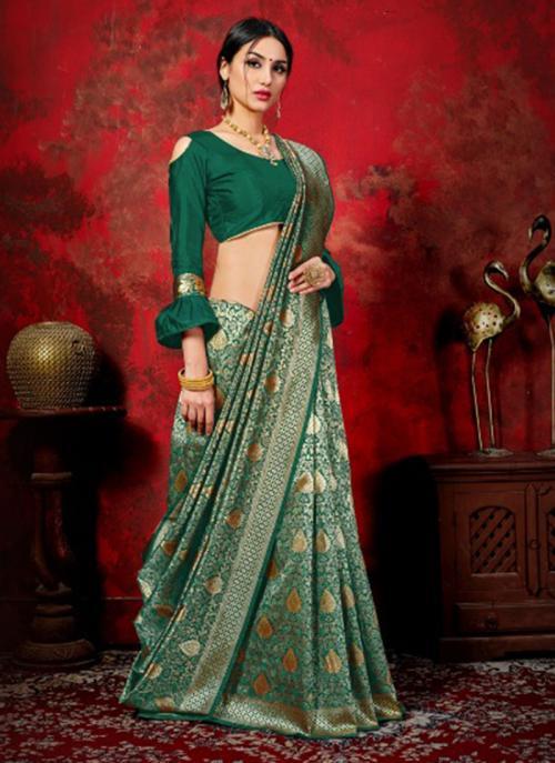 Festival Wear Green Weaving Banarasi Silk Saree