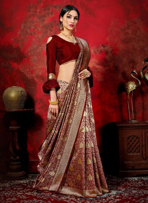 Festival Wear Maroon Weaving Banarasi Silk Saree
