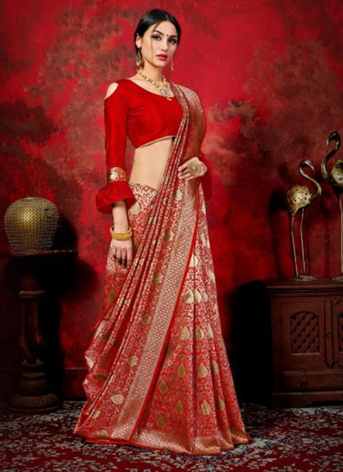 Festival Wear Red Weaving Banarasi Silk Saree