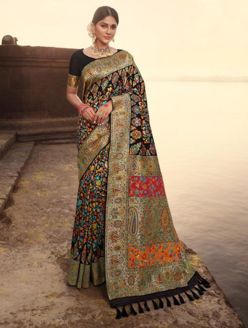Wedding Wear Black Weaving Banarasi Silk Saree