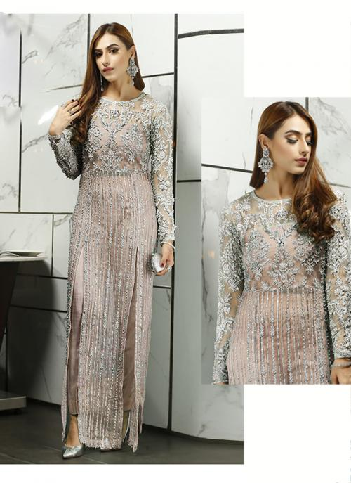 Party Wear Peach Embroidery Work Net Pakistani Suit
