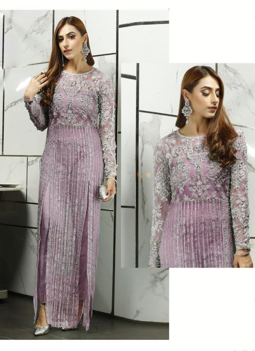 Party Wear Pink Embroidery Work Net Pakistani Suit