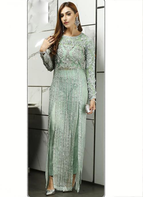 Party Wear Pista Green Embroidery Work Net Pakistani Suit