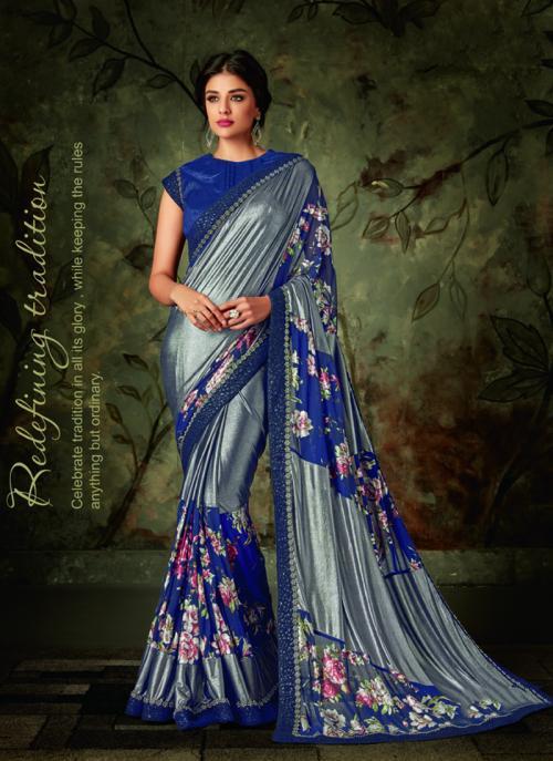 Party Wear Blue Border Work Lycra Saree