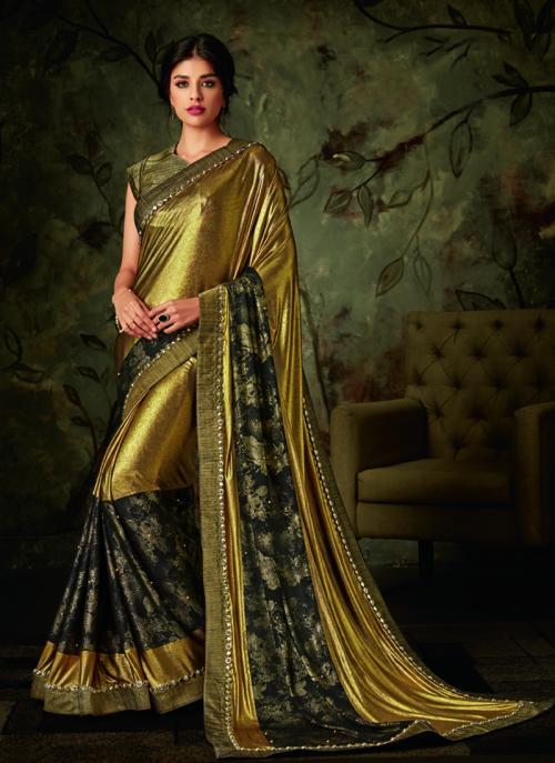 Party Wear Golden Border Work Lycra Saree