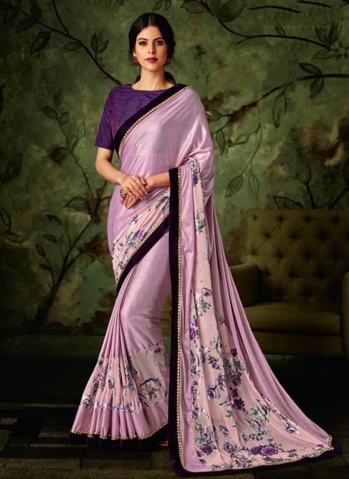 Party Wear Pink Border Work Lycra Saree
