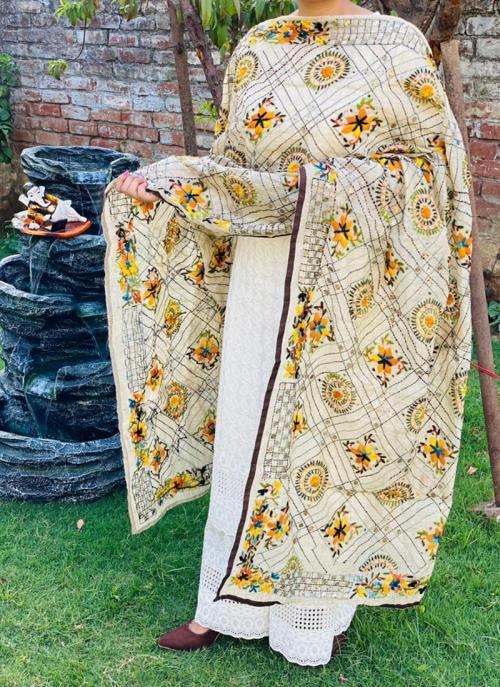 Party Wear Cream Chikan Work Cotton Kurti With Dupatta