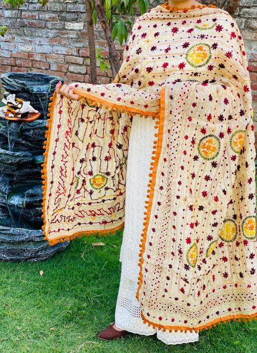 Party Wear Musterd Chikan Work Cotton Kurti With Dupatta